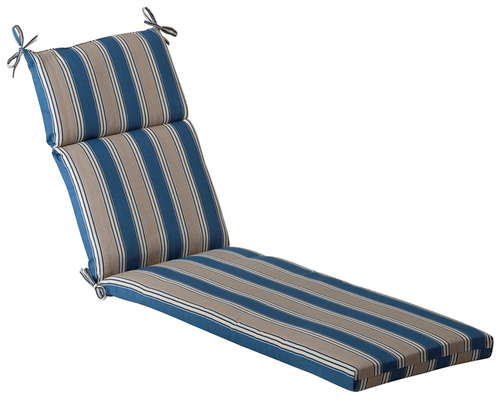 """72.5"""" Blue and Gray Striped Outdoor Patio Furniture Chaise Lounge Cushion - IMAGE 1"""