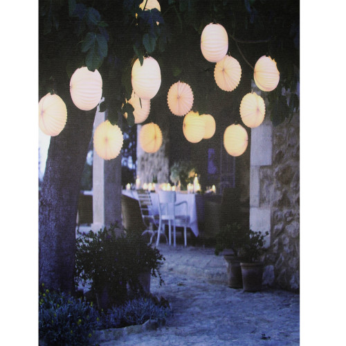 """LED Lighted Flickering Garden Party Chinese Lanterns Canvas Wall Art 11.75"""" x 15.75"""" - IMAGE 1"""