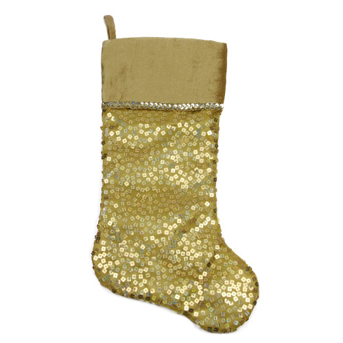"20.5"" Gold Holographic Sequined Shiny Christmas Stocking - IMAGE 1"