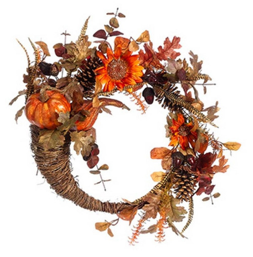 Pumpkin and Sunflower Artificial Floral Cornucopia Thanksgiving Wreath, Orange 22-Inch - IMAGE 1