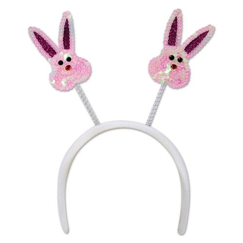 Pack of 12 Sequined Bunny Bopper Headband Easter Costume Accessories - IMAGE 1