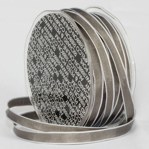 """Silver and Gray French Wired Craft Ribbon 0.25"""" x 108 Yards - IMAGE 1"""