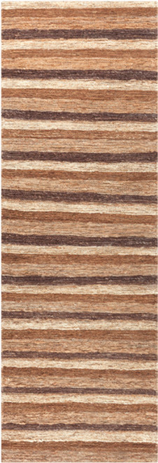 2.5' x 8' Brown and Gray Stripe Hand Woven Area Throw Rug Runner - IMAGE 1