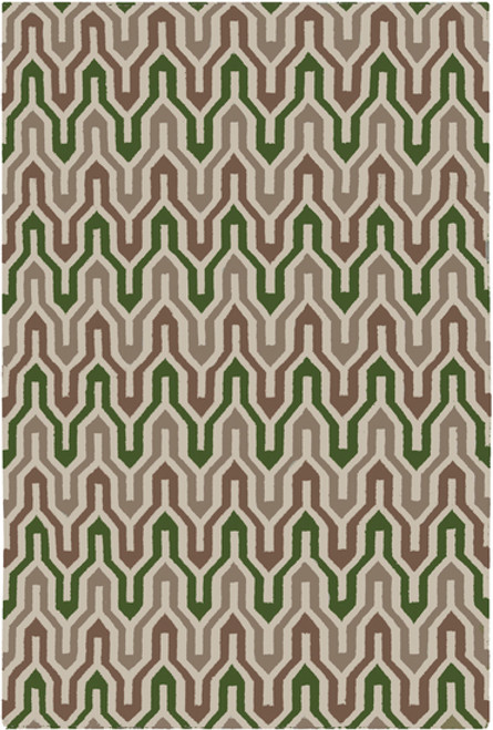 2' x 3' Ivory and Green Hand Woven Rectangular Wool Area Throw Rug - IMAGE 1