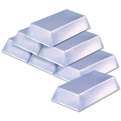 """Club Pack of 12 Silver Pirate Bar Treasure Hunt Party Decors 7"""" - IMAGE 1"""