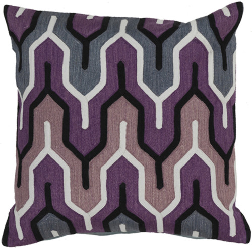 """22"""" Purple and Gray Geometric Square Throw Pillow - Down Filler - IMAGE 1"""