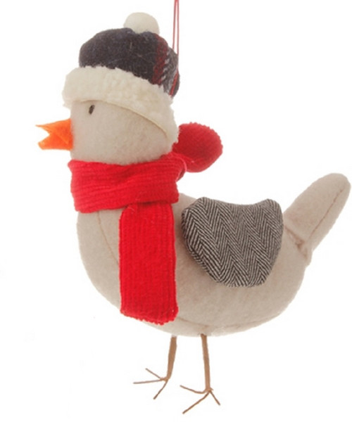 """4.75"""" Red and Gray Alpine Chic Bird with Scarf Herringbone Wings Christmas Ornament - IMAGE 1"""