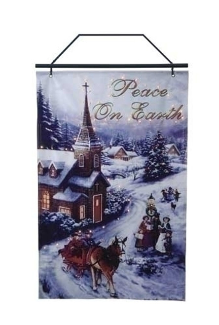 "26"" Blue and Brown Lighted Winter Church Scene Christmas Wall Banner - IMAGE 1"