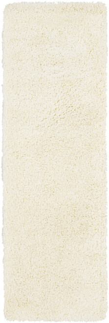 2.5' x 8' Solid White Hand Woven Rectangular Area Throw Rug Runner - IMAGE 1