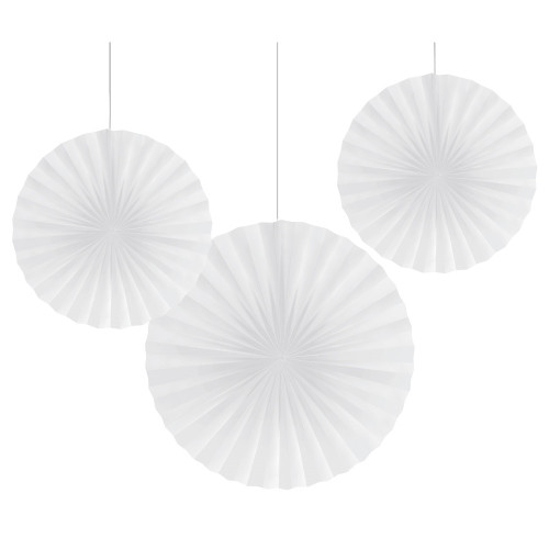 """Club Pack of 18 Traditional White Hanging Fan Party Decorations 16"""" - IMAGE 1"""