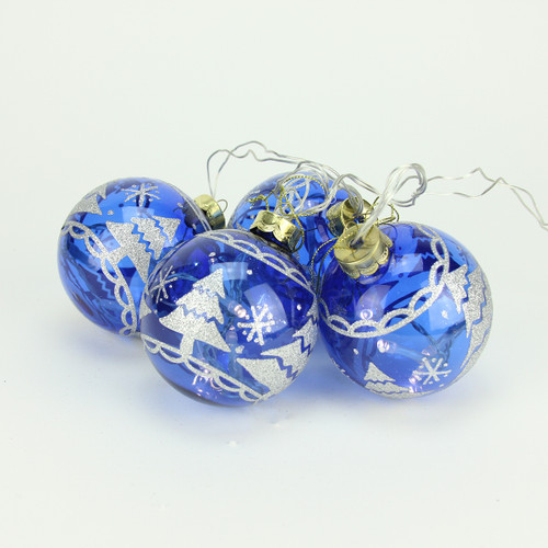 """4ct Blue Glass 2-Finish LED Lighted Christmas Ball Ornaments 3.25"""" (80mm) - IMAGE 1"""