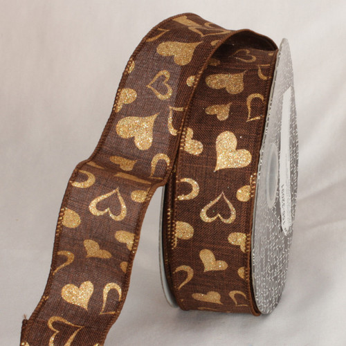 """Brown and Metallic Gold Valentine Day Wired Craft Ribbon 1.5"""" x 40 Yards - IMAGE 1"""