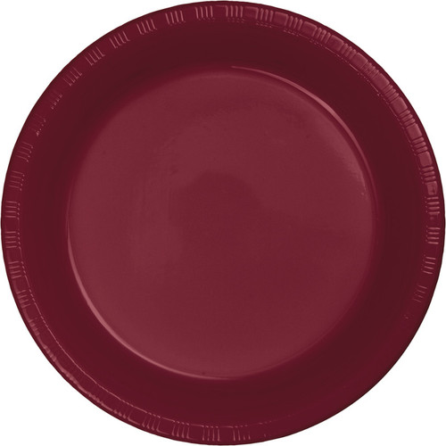"Club Pack of 240 Burgundy Disposable Plastic Party Banquet Plates 10.25"" - IMAGE 1"