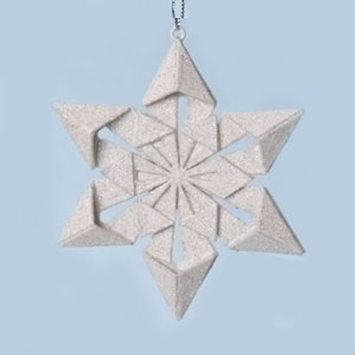 """4"""" Holy Night Origami Style Star Point Glittered Snowflake Christmas Ornament - IMAGE 1"""
