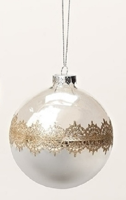 "Silver Mirrored with Gold Lace Inspired Accent Glass Teardrop Christmas Ornament 4.5"" - IMAGE 1"