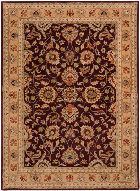 7.5' x 9.5' Green and Brown Contemporary Hand Tufted Floral Rectangular Wool Area Throw Rug - IMAGE 1