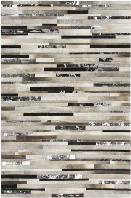 5' x 8' Black and Gray Hand Crafted Area Throw Rug - IMAGE 1