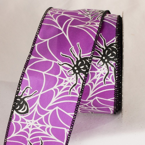 """Purple and Black Spider Print Wired Craft Ribbon 2.5"""" x 20 Yards - IMAGE 1"""
