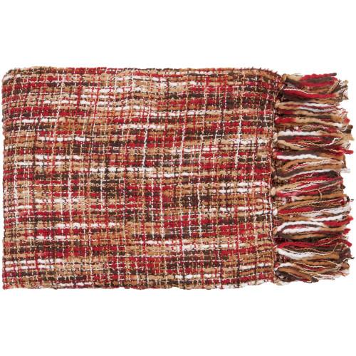 "Brown and White Fringed Rectangular Throw Blanket 50"" x 60"" - IMAGE 1"