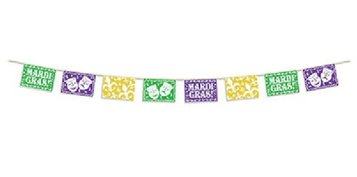 Club Pack of 12 Purple and Green Picado Mardi Gras Banners 12' - IMAGE 1