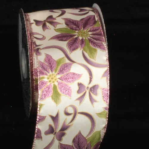 """Ivory and Purple Poinsettia Printed Wired Craft Ribbon 3"""" x 20 Yards - IMAGE 1"""