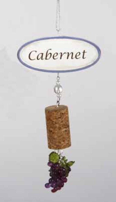 """5.5"""" Tuscan Winery Cabernet Sign with Cork and Grapes Dangle Christmas Ornament - IMAGE 1"""