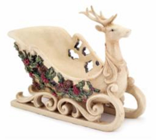 """9"""" Beige Reindeer Sleigh with Holly Leaves and Berries Christmas Tabletop Decor - IMAGE 1"""