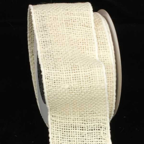 "Ivory Burlap Wired Craft Ribbon 3"" x 20 Yards - IMAGE 1"