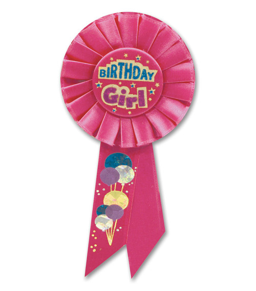 """Pack of 6 Red """"Birthday Girl"""" Party Celebration Rosette Ribbons 6.5"""" - IMAGE 1"""