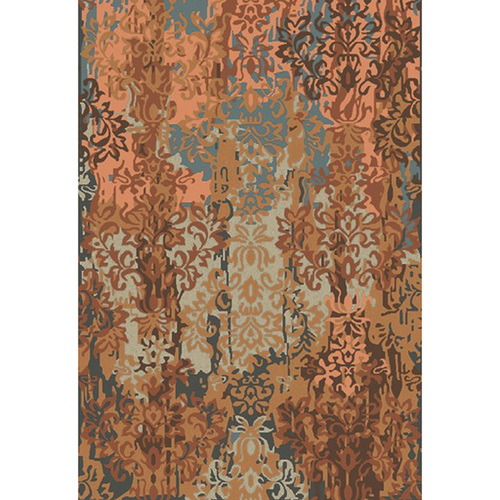 5' x 8' Abstract Damask Blue and Brown Hand Knotted New Zealand Wool Area Throw Rug - IMAGE 1