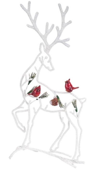 """19.5"""" White and Red Reindeer with Cardinals Christmas Tabletop Decoration - IMAGE 1"""
