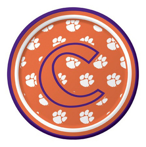 """Club Pack of 96 Blue and Orange NCAA Clemson Tigers Disposable Party Luncheon Plates 7"""" - IMAGE 1"""