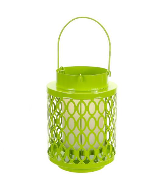 "10"" Tropicalia Bright Green Oval Cut Pillar Candle Holder Lantern - IMAGE 1"