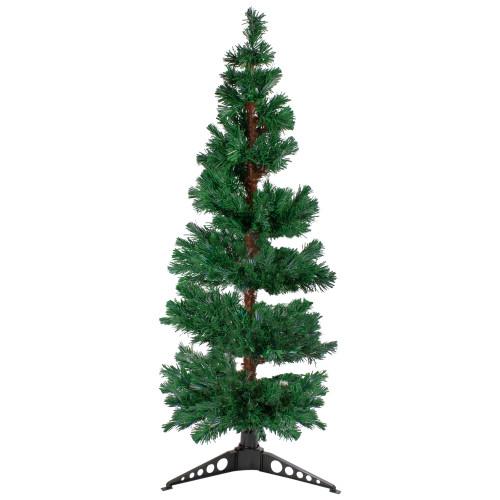 5' Pre-Lit Slim Pine Spiral Artificial Christmas Tree - Multicolor Fiber Optic Lights - IMAGE 1
