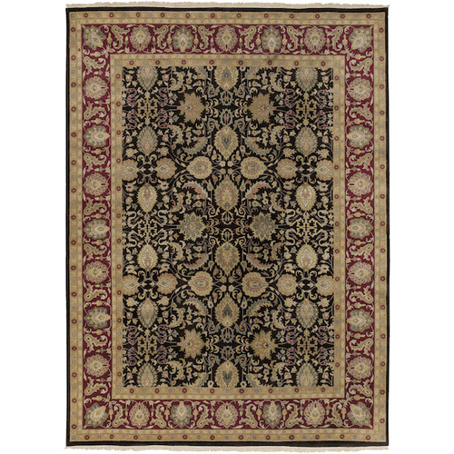 5.5' x 8.5' Floral Red and Black Hand Knotted Rectangular Wool Area Throw Rug - IMAGE 1