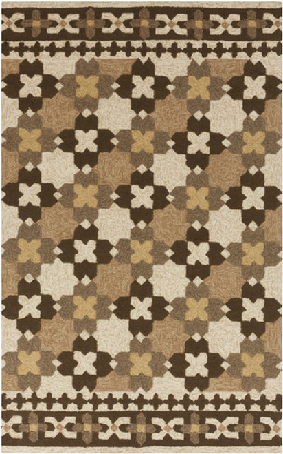8' x 10.5' Brown and Ivory Hand Hooked Rectangular Area Throw Rug - IMAGE 1