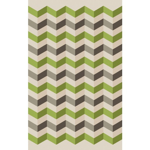 8' x 11' Chevrons Lime Green and Brown Hand Woven Wool Area Throw Rug - IMAGE 1