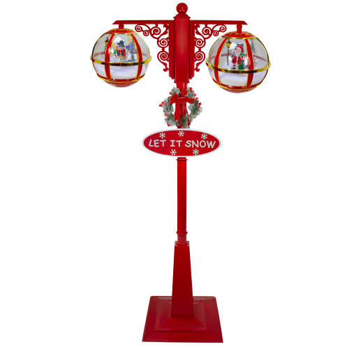 "74"" Lighted Red and Gold Musical Double Christmas Street Lamp - IMAGE 1"