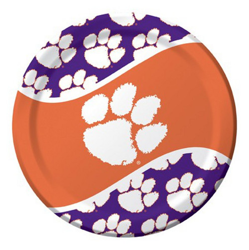 Club Pack of 96 NCAA Clemson Tigers  Round Tailgate Party Paper Dinner Plates 8.75 - IMAGE 1
