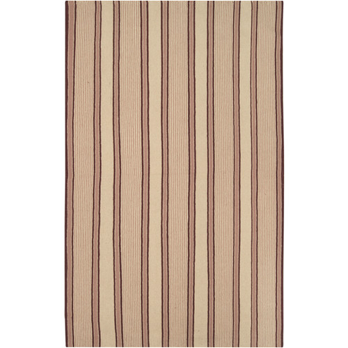 3.5' x 5.5' Elegant Striped Beige and Brown Hand Woven Rectangular Wool Area Throw Rug - IMAGE 1