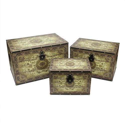 """Set of 3 Oriental-Style Brown and Cream Earth Tone Decorative Wooden Storage Boxes 22"""" - IMAGE 1"""