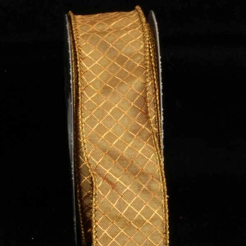 """Amber Piazza Printed Wired Craft Ribbon 1.5"""" x 80 Yards - IMAGE 1"""