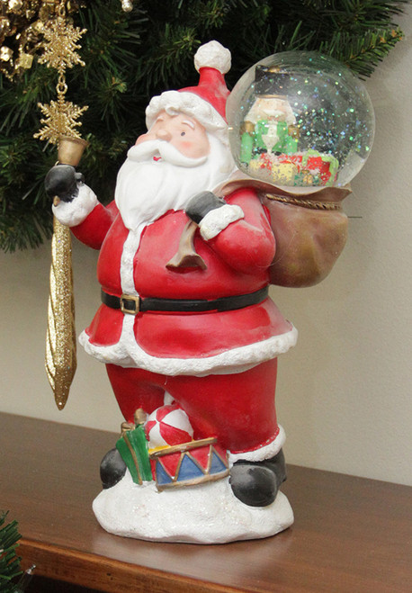 """11"""" Santa Claus with Toy Sack Glittering Snow Dome Snow Globe Christmas Table Top Figure - IMAGE 1"""