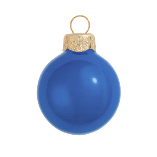 "12ct Delft Blue Pearl Glass Ball Christmas Ornaments 2.75"" (70mm) - IMAGE 1"