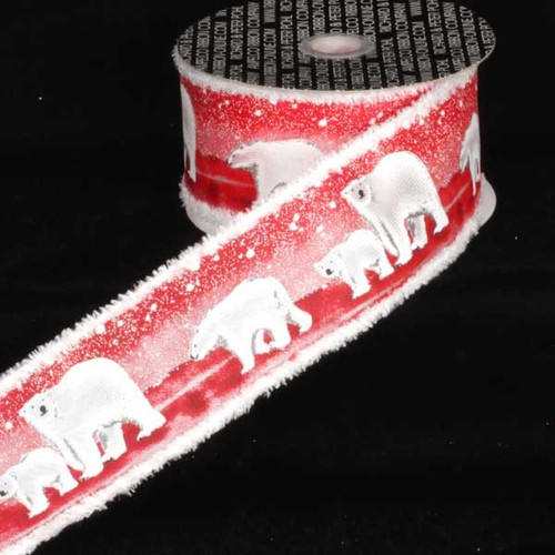 """Red and White Polar Bear Wired Craft Ribbon 2.5"""" x 20 Yards - IMAGE 1"""