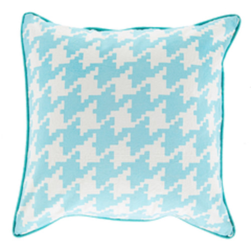 "22"" White and Blue Houndstooth Pattern Square Throw Pillow - Down Filler - IMAGE 1"