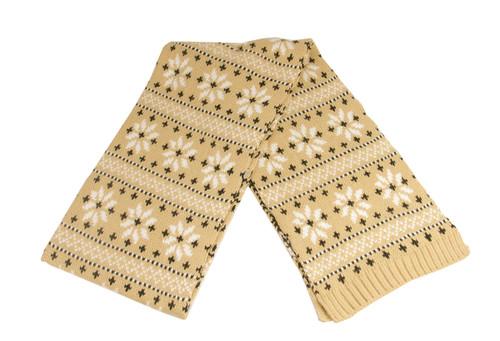 "60"" Unisex Light Khaki Jacquard Knit Winter Scarf - IMAGE 1"