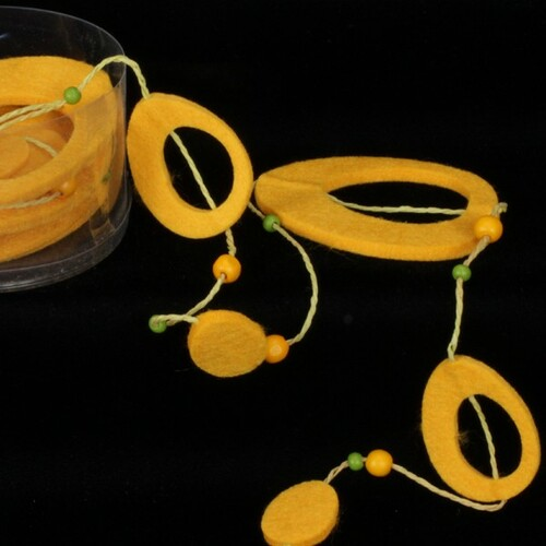 "Dijon Yellow Fuzzy Felt Flower Garland 59"" x 19.8 Yards - IMAGE 1"