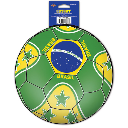 """Club Pack of 12 Green and Yellow """"Brasil"""" Soccer Themed Cutout Decorations 10"""" - IMAGE 1"""