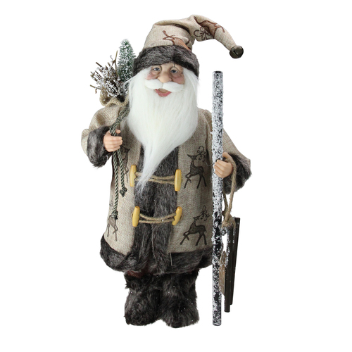 """16.5"""" Country Rustic Santa Claus Carrying a Wooden Sled and Sack of Gifts - IMAGE 1"""